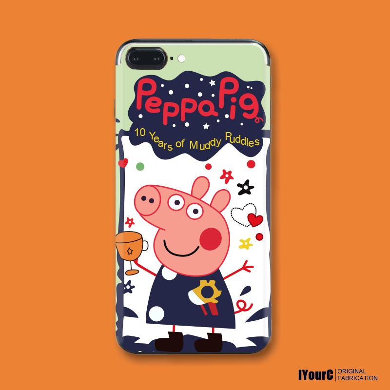 社会人小猪佩奇抖音同款苹果6手机贴纸iPhone7plus/8/6s/X背贴膜