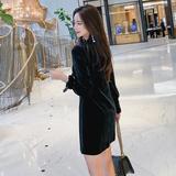 2021秋冬新款韩版气质V领蝴蝶结单排扣长袖加厚丝绒连衣裙,女装连衣裙,红叶空间