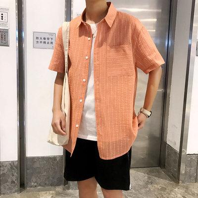 2019夏季小清新日系港風純棉短袖條紋襯衫DS-A045-C1703-P35