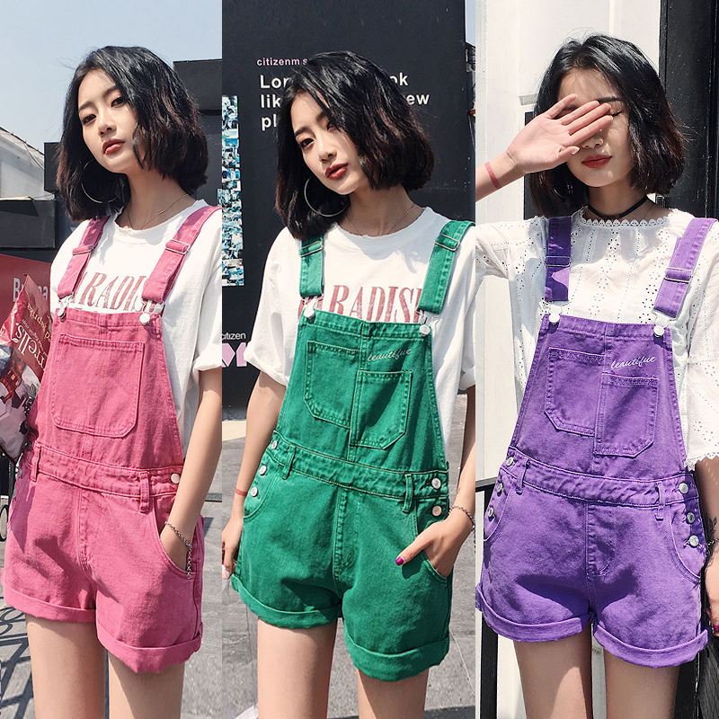 Summer colorful backpack shorts denim high waist Jumpsuit students loose wide leg BF style casual slim