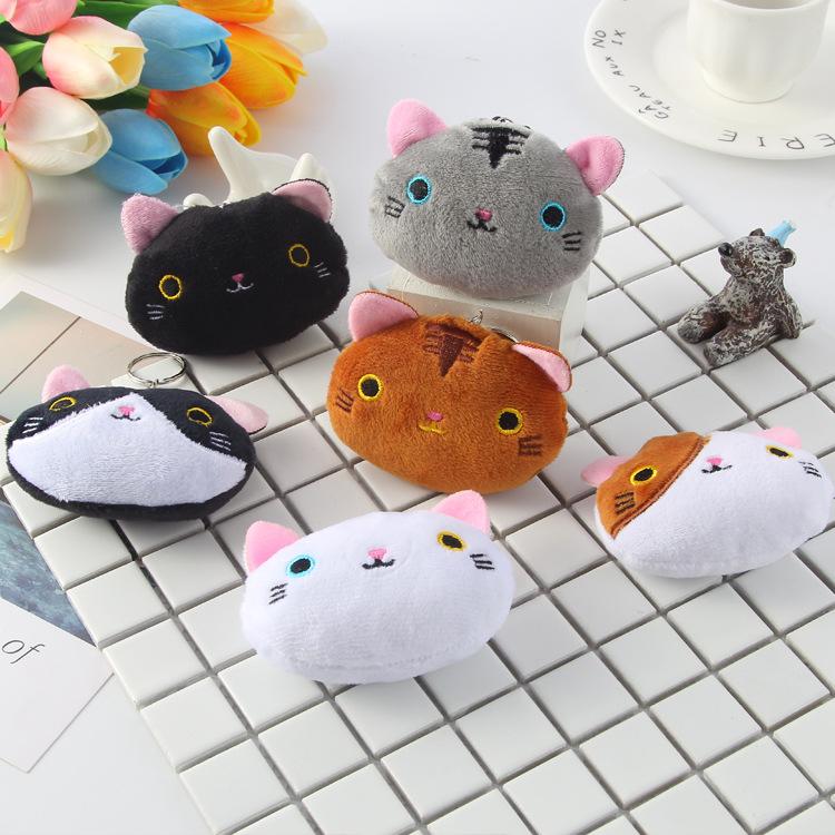 A可爱日韩靴下猫挂饰包包钥匙扣玩具配件卡通小猫咪毛绒挂件0.03