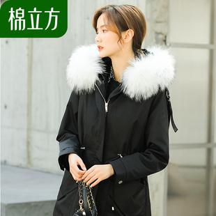 可拆卸派克服皮草外套女年轻款棉立方冬款貉子毛领獭兔内胆大衣品牌