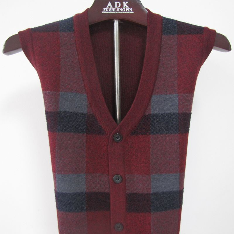 Autumn 2020 new cardigan mens waistcoat middle-aged and old aged woolen vest old-age jacket fathers suit front-to-back package