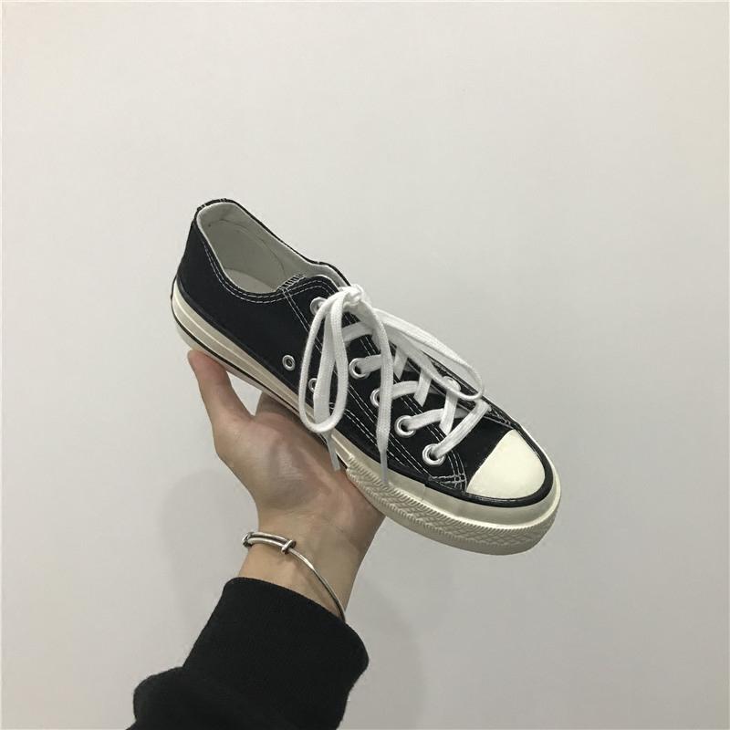 2018春季新款70s帆布鞋女韩版学生原宿风ulzzang1992鞋黑色港味鞋