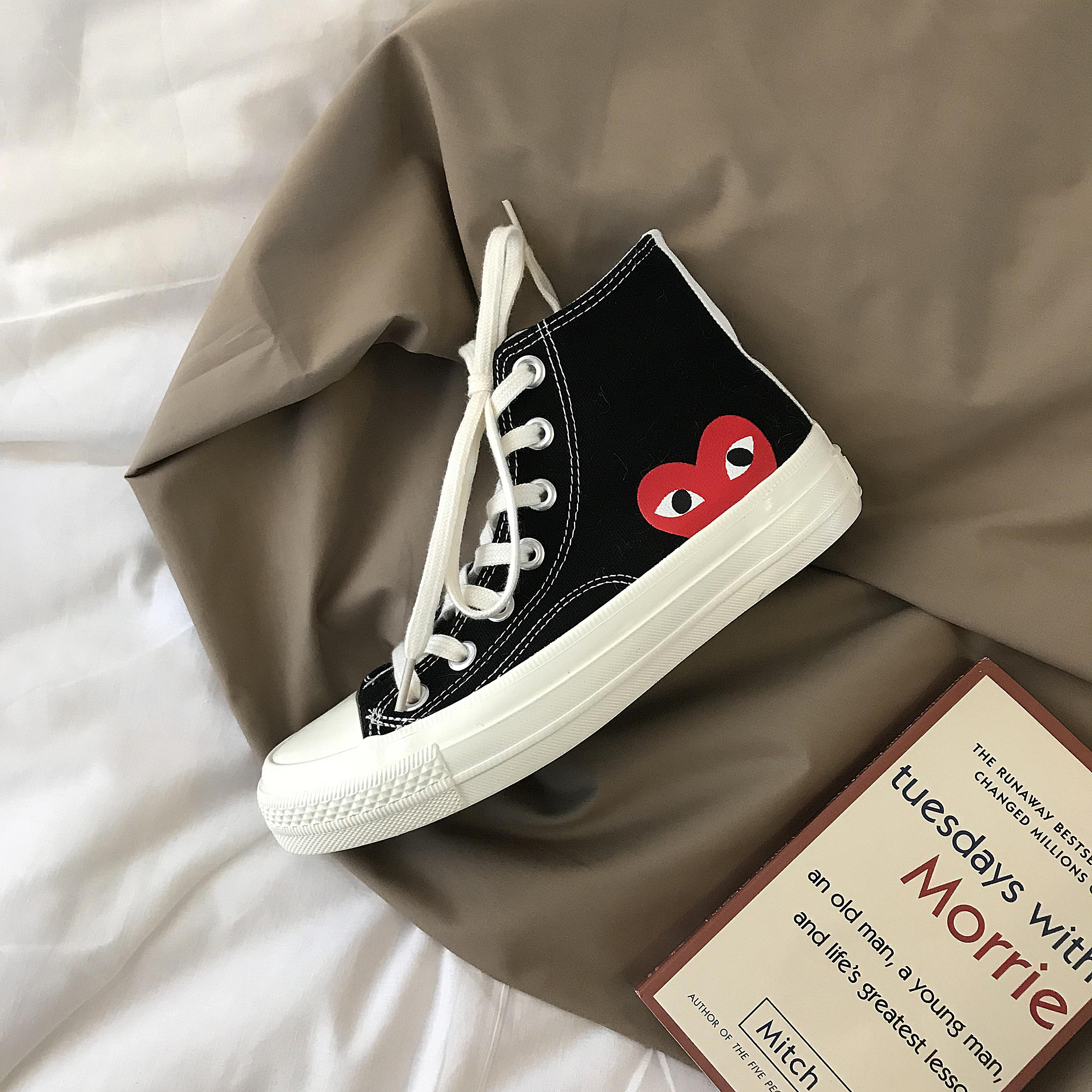 (用5元券)黄洛林爱心高帮女1992 ins帆布鞋
