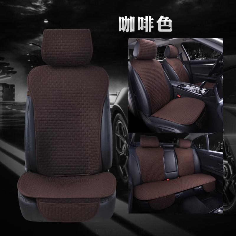 新款汽车坐垫小蛮腰免绑五件套座垫四季通用单片单垫亚麻车垫夏季
