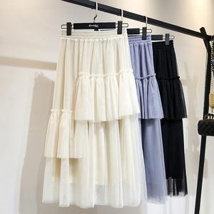 小仙女显瘦垂感蛋糕纱裙优雅ins超火的中长款网纱半身裙春秋新款