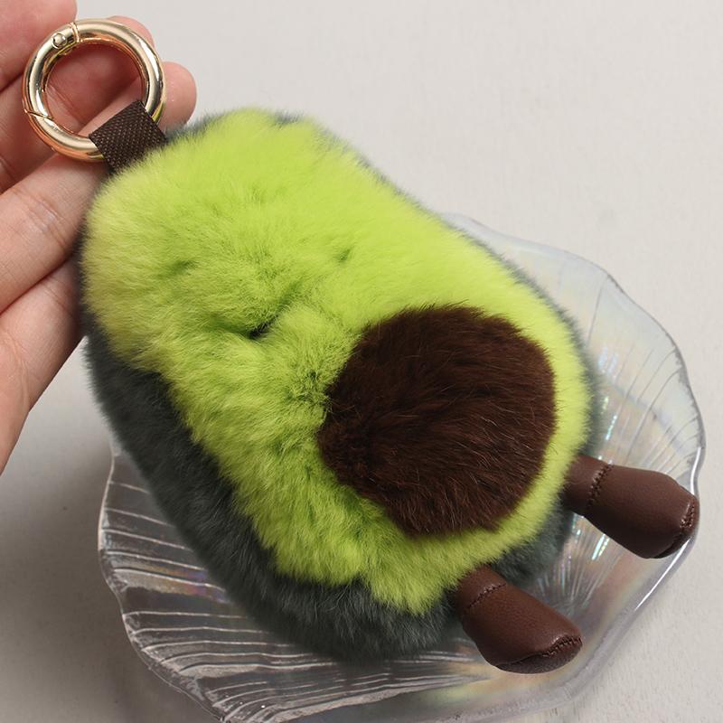 有赠品古灵阁 想逃跑的牛油果韩国ins獭兔毛车钥匙扣包挂件摆件皮草挂饰