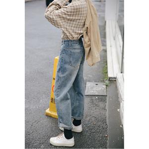 忠犬小八梨形自制2019新款泫雅复古做旧高腰宽松阔腿学生牛仔裤女