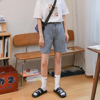 【现货】忠犬小八梨形自制显瘦牛仔短裤百搭清凉文艺直筒裤夏季女