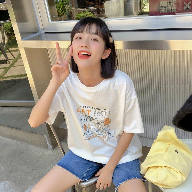 【现货】忠犬小八梨形自制-喵星人夏季新卡通可爱印花短袖T恤学生