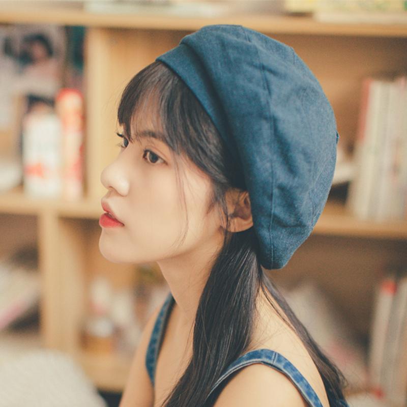 贝雷帽子女士日系春秋夏季韩版棉麻百搭时尚文艺女款画家帽蓓蕾帽图片