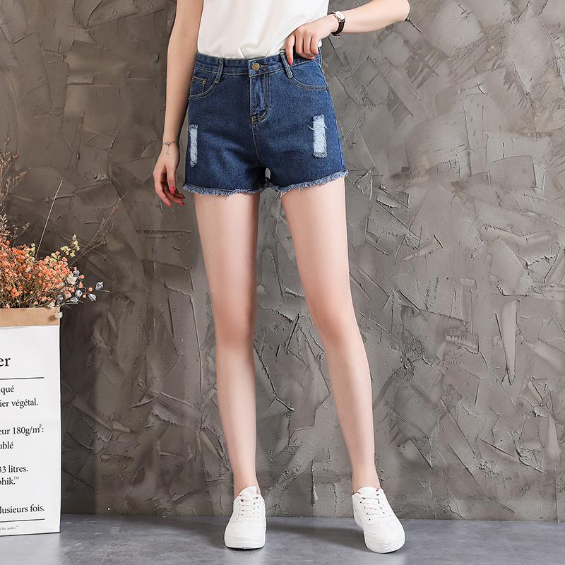 2018夏款女破洞百搭时尚牛仔短裤毛边热裤弹力显瘦直筒裤子