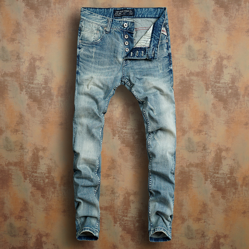 Button placket mens Euro American mid low waist stretch slim fit small straight leg jeans light sky blue
