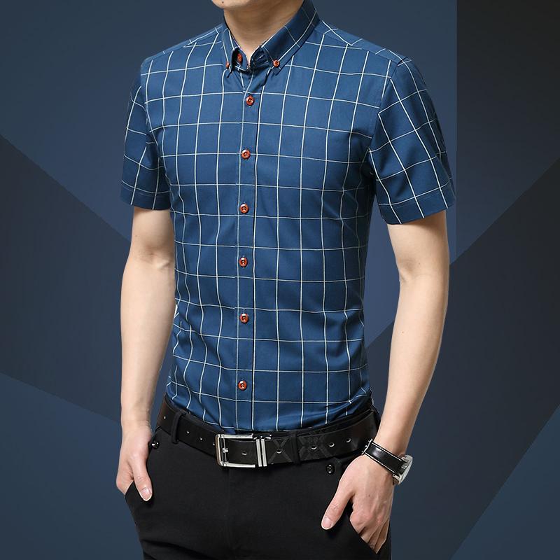 啄木鸟短袖衬衫男修身款男士衬衣休闲男装青春流行男衬衫短袖