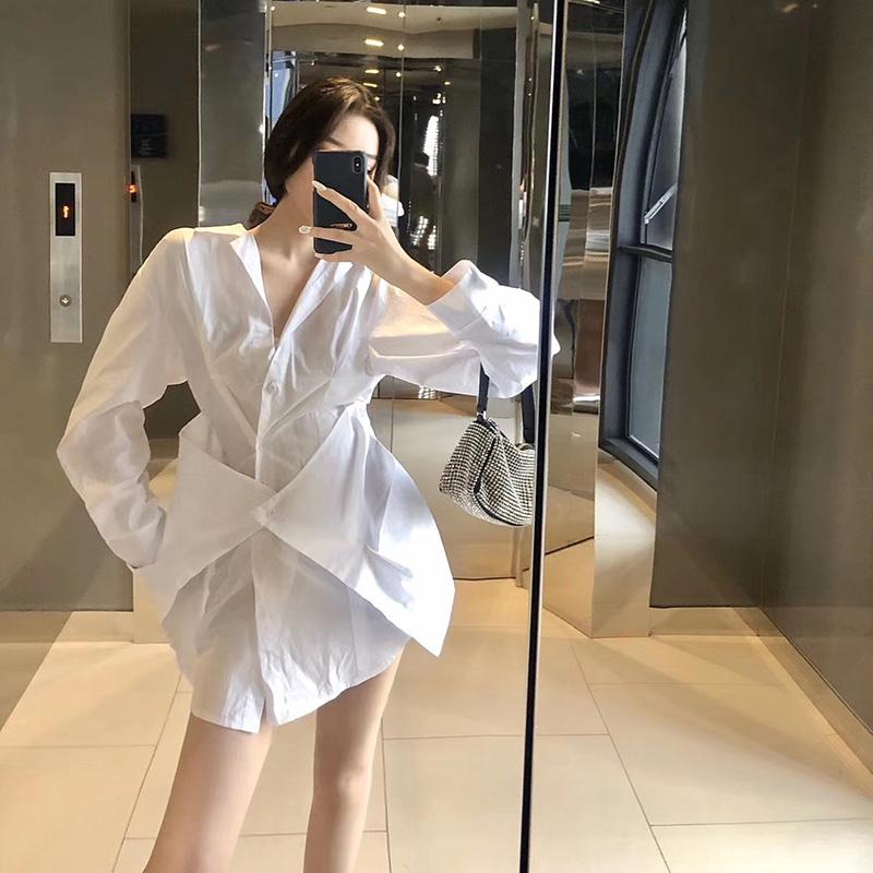 2020新款春装洋气设计感假两件衬衫裙御姐V领显瘦收腰衬衣连衣裙