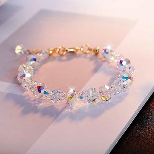 奧地利水晶手鍊小眾設計感蝴蝶閃手串個性韓版簡約清新森系送女友