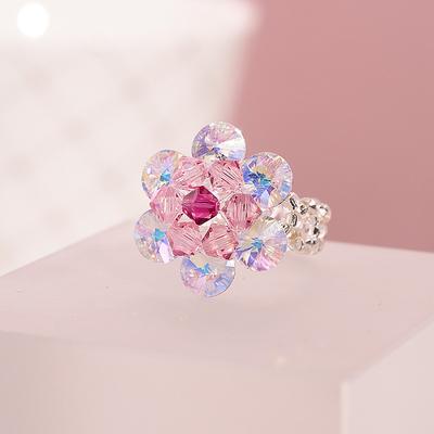 粉色梅花戒指装饰水晶指环可爱女萌萌哒ins小众设计清新原创手饰