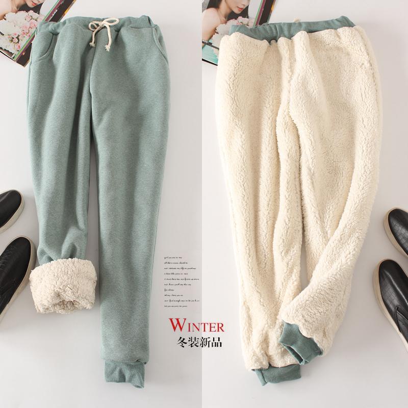 冬季羊羔绒加厚运动裤小脚加绒休闲裤宽松哈伦卫裤大码棉裤长裤女