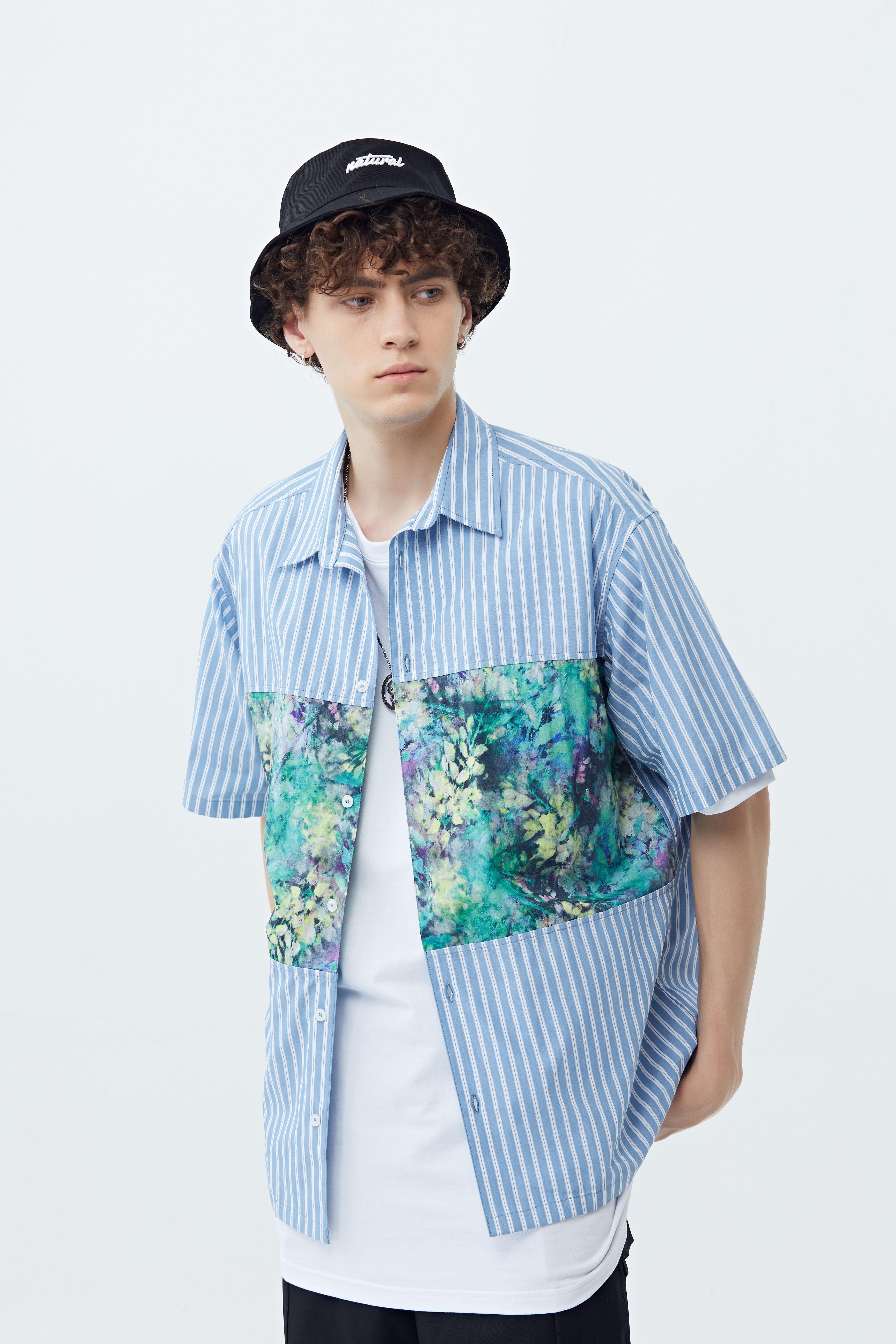 Justoverbroke original design national fashion summer plant pattern shirt mens loose short sleeve mens shirt