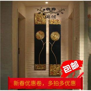 新款东南亚泰式风格手绘金箔油画无框画玄关办公室装饰画抽象壁画
