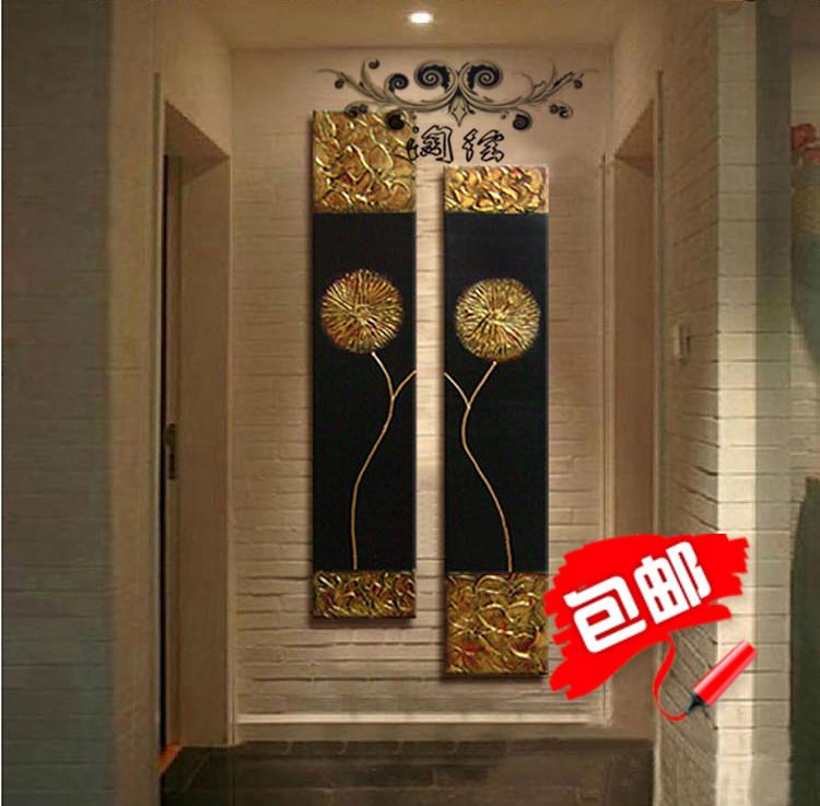 玄關辦公室裝飾畫抽象壁畫新款東南亞泰式風格手繪金箔油畫無框畫