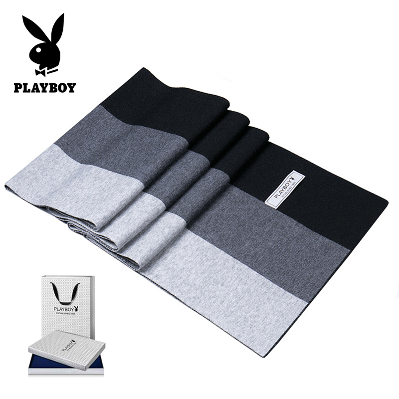 2019 Playboy winter new style young mens versatile wool scarf simple middle aged casual dad gift