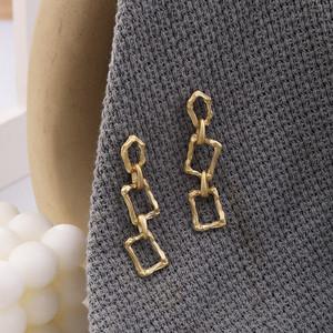 CX5464# 最便宜服装批发 多层方形合金链条型耳坠法式简约复古百搭耳环冷淡风个性
