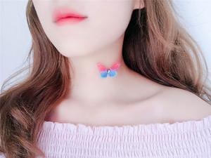 7188#新款韩版简约透明鱼线隐形项链 创意可爱蝴蝶街拍时尚...