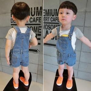 婴儿背带裤宝宝连体裤儿童软牛仔男童短裤女童纯棉吊带韩版夏季潮