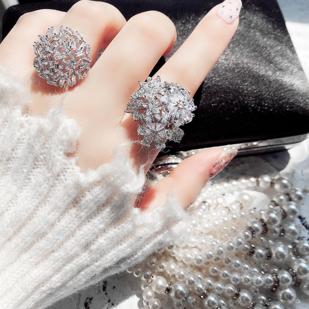 韩国新款 蕾丝镶钻花朵两件套开口食指戒指 镀铂金满钻网红指环女