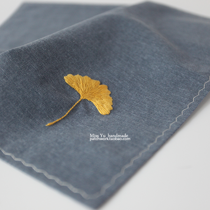 Original pure hand embroidery happiness auspicious ginkgo leaf pure cotton washed cotton yarn imported handkerchief super soft feel recommended