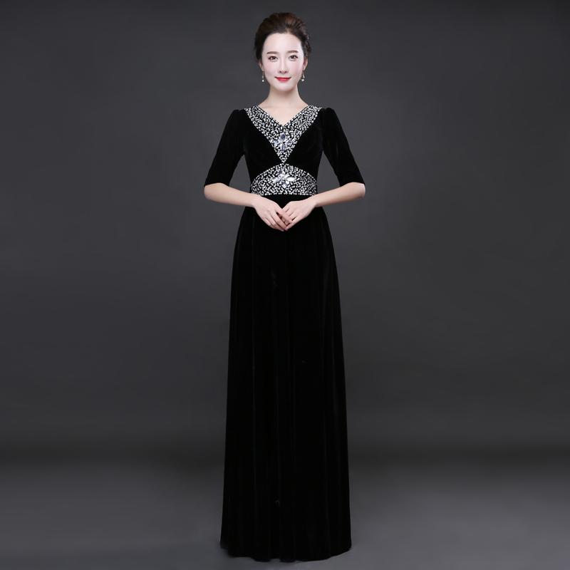 大合唱礼服金丝绒新款演出服装女长裙成人修身中老年合唱团指挥服