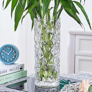 加厚花瓶玻璃透明水养富贵竹玫瑰百合干花插花摆件大号客厅北欧瓶
