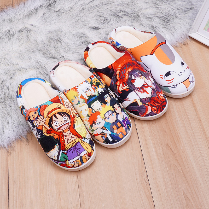 Two dimensional cotton slippers animation surrounding autumn and winter cartoon home shoes lovers antiskid velvet home slippers men and women