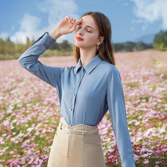 秋水伊人真丝衬衫春装2021年新款女装白色衬衣设计感小众职业上衣