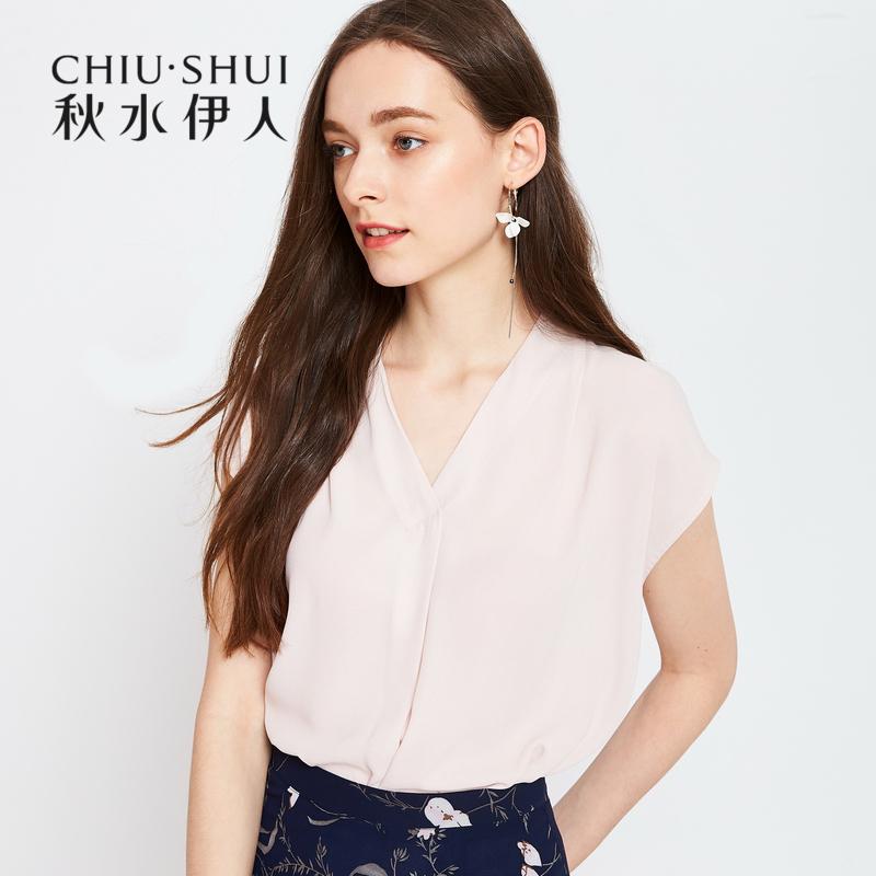秋水伊人2018夏装新款女装纯色性感V领短袖宽松雪纺衫夏上衣女