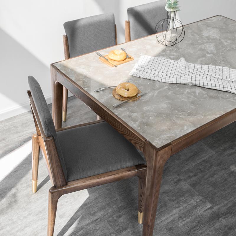 北欧实木餐桌大理石餐桌椅组合长方形饭桌现代简约小户型餐厅桌子(非品牌)