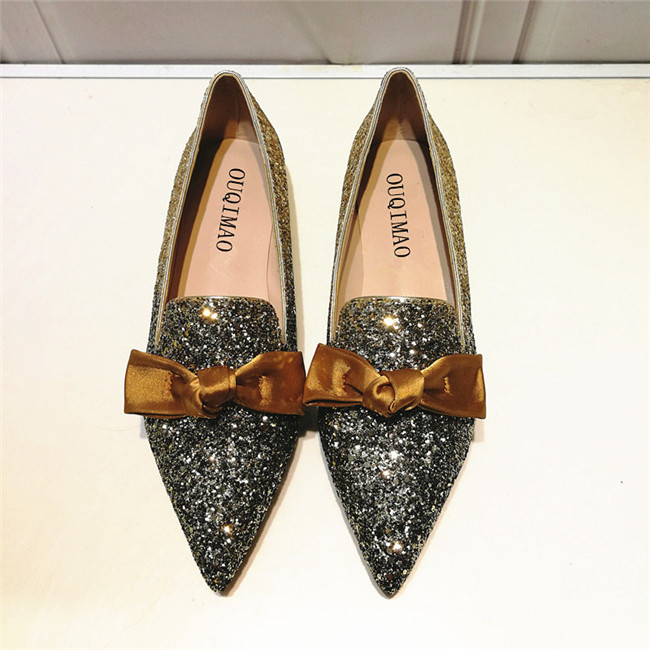 Ouqi cat 2020 new bowknot pointed Sequin FLAT SHOES BRIDAL SHOES wedding shoes European and American fairy versatile womens shoes