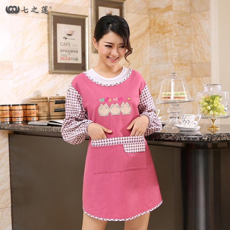 男女长袖围裙韩版时尚罩衣成人 30064带袖围裙防水防油公主欧式