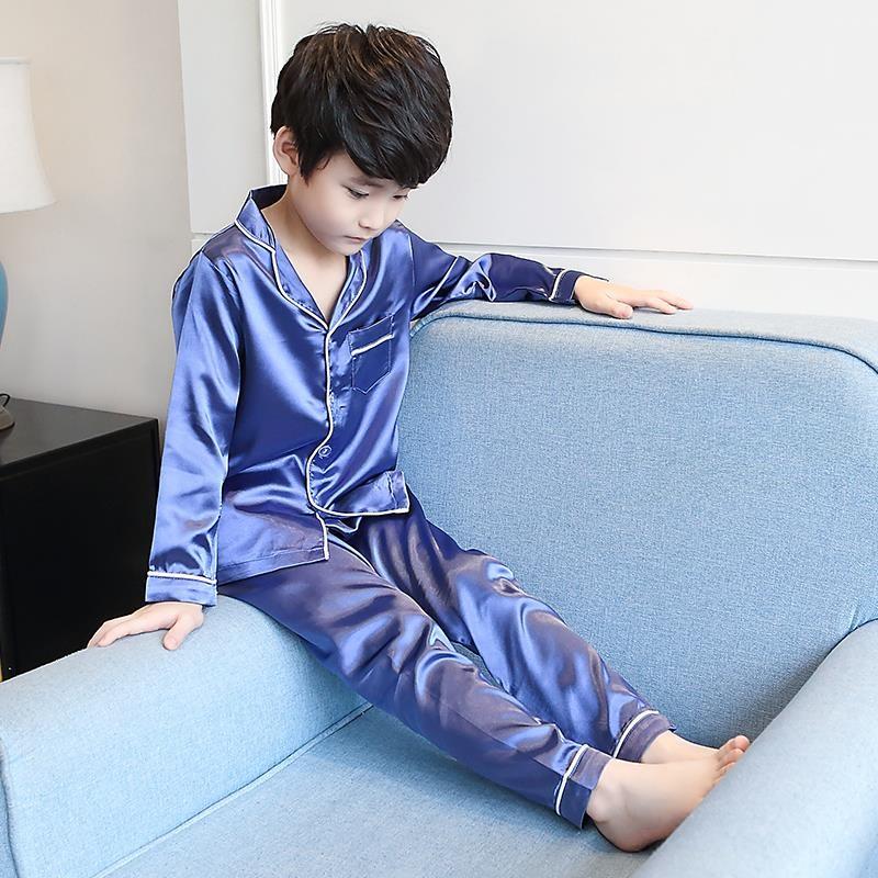家居服夏天夏季长袖薄款真丝儿童睡衣小男孩3男童5中套装7岁9大童