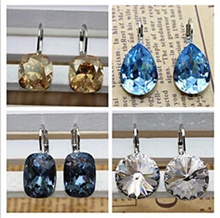 Genuine Austrian crystal button square Bella pierced crystal earrings earrings European and American exaggerated gift package