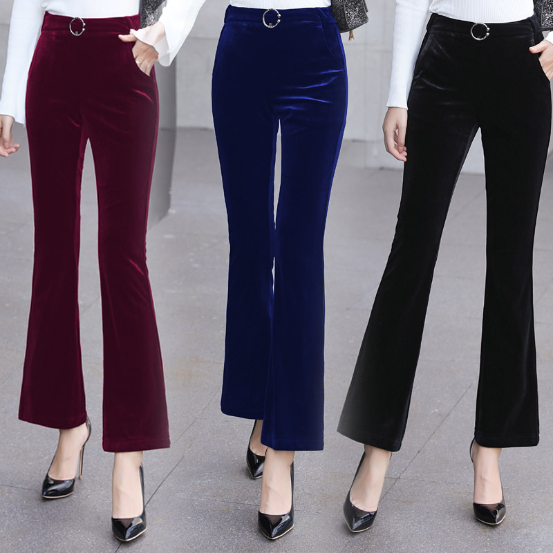 Cashmere micro flared pants womens autumn and winter new high waist slim Capris temperament slim and plush casual pants