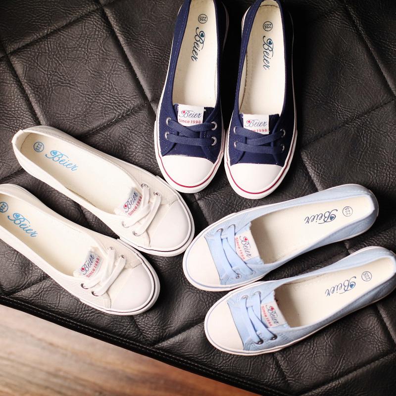 包邮蓓尔浅口春夏帆布鞋女韩版休闲套脚鞋学生平底布鞋单鞋小白鞋