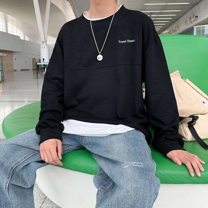 男士卫衣韩版圆领打底衫纯色学生宽松假两件上衣 W519 P55黑