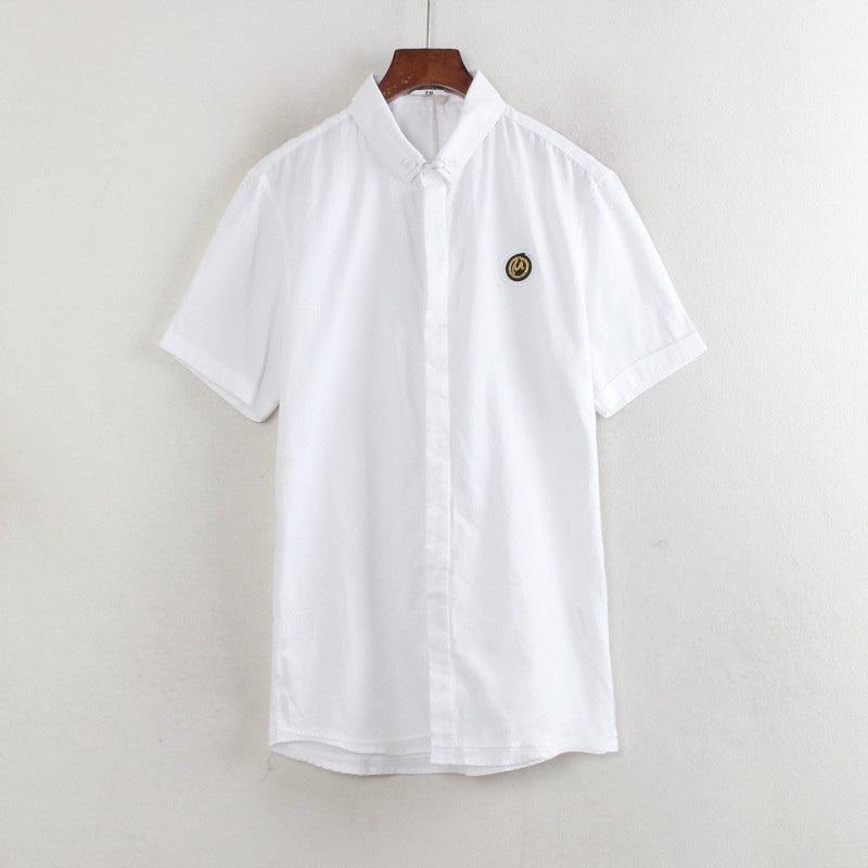16系列专柜折扣男装春秋款翻领短袖纯色打底衬衣纯色衬衫A3488H