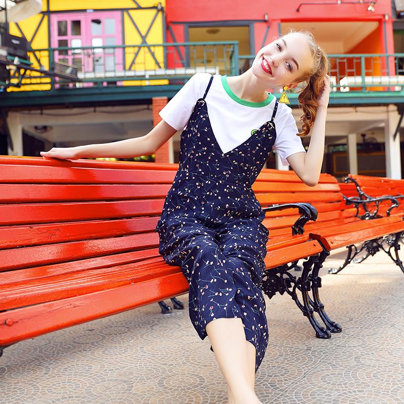 碎花连体裤女2018新款夏季吊带阔腿裤高腰宽松枫叶潮沙滩连衣裤子