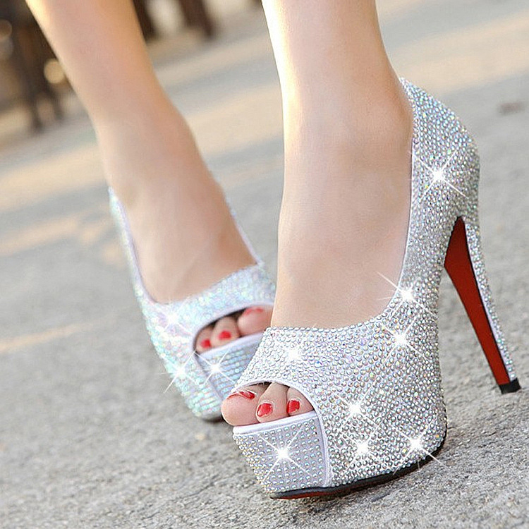 Wedding shoes bride shoes fish mouth gold and silver super high heel waterproof platform Red Rhinestone Crystal show womens single shoes