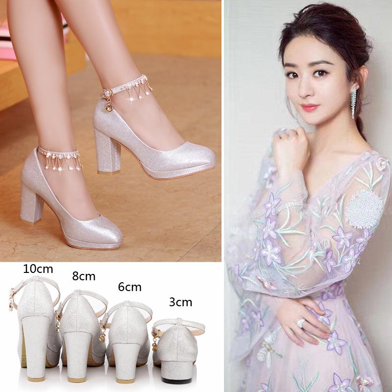 Wedding shoes bridal shoes silver thick heel high heel medium heel low heel 2018 new evening dress pregnant womens shoes