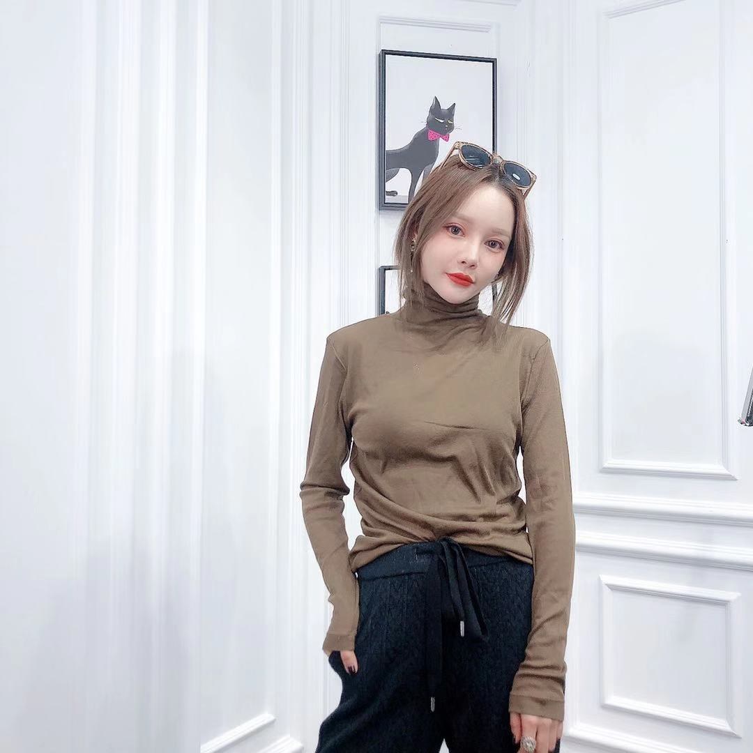 菩提猫欧洲站2019冬季新款多色高领纯色净版弹力修身羊毛针织衫女